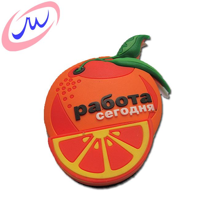 Orange shape 2d 3d soft pvc souvenir custom fridge magnet