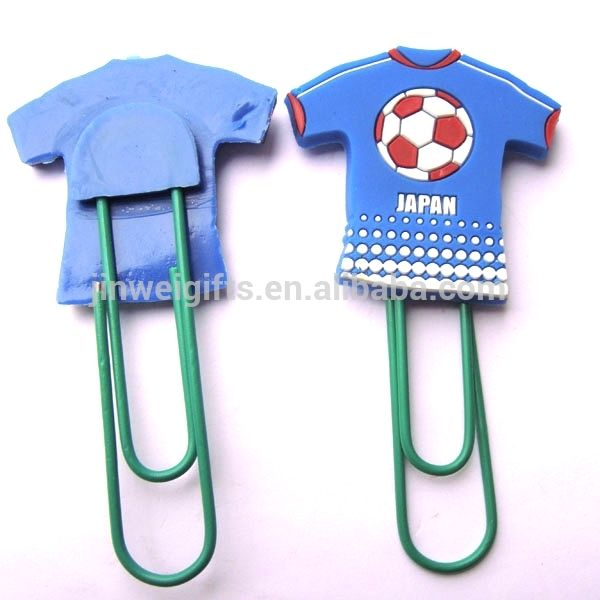 Custom Football clothes shape soft silicone pvc bookmark plastic paper clips