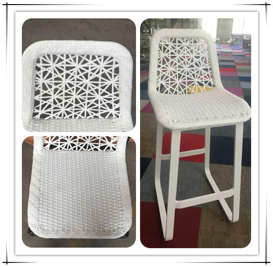 High quality Outdoor bar furniture Aluminum rattan Barstool W/ PVC Flat Wicker