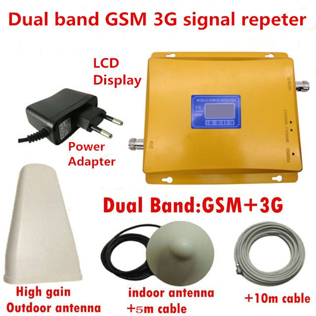 LCD display dual band GSM 3G signal booster Repeater