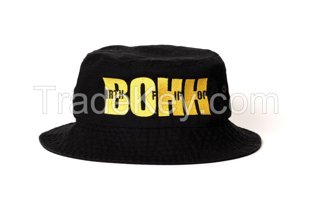 BOHH Black and Yellow Embroidered Bucket Cap