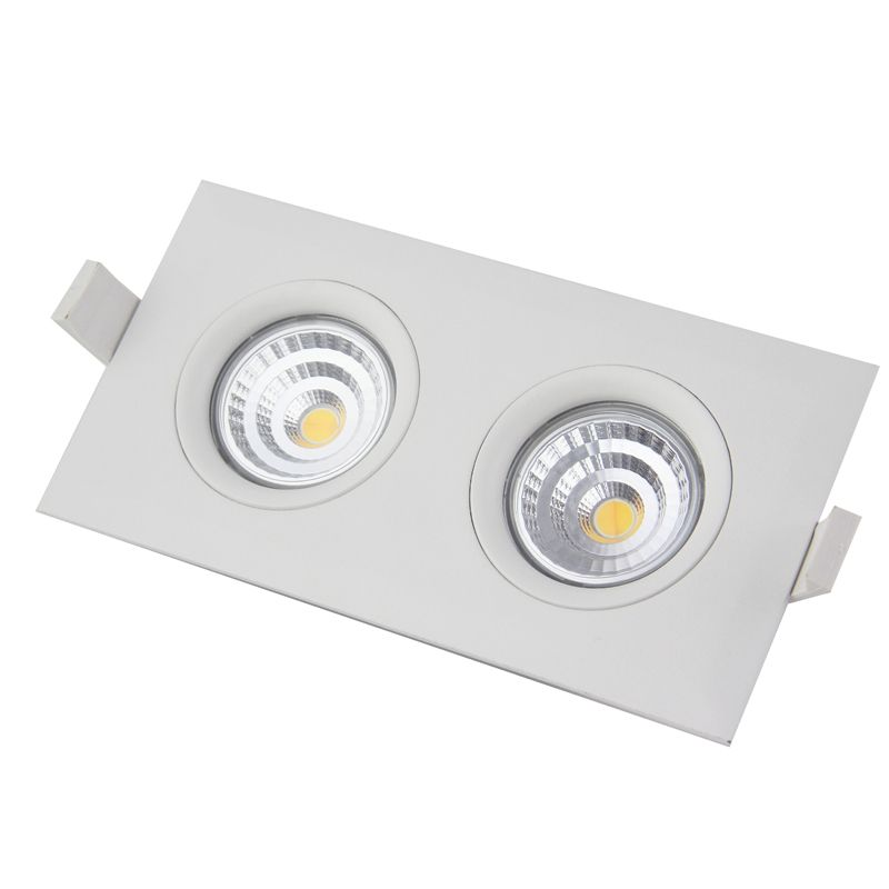 Led down light fixtures cct adjustable downlight dimmable led double head lighting