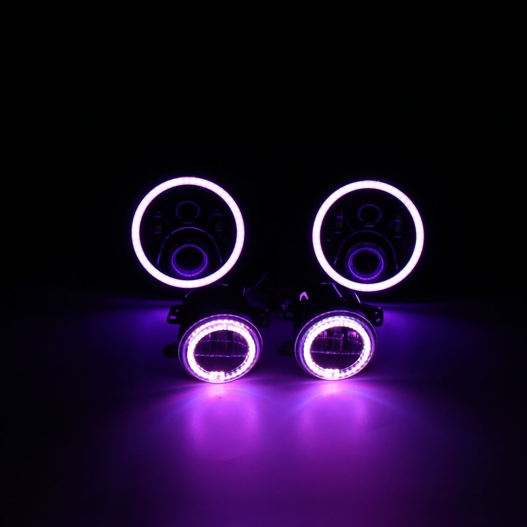 7inch RGB 90W led headlight 4inch 30w fog lamp for Jeep APP music controlled