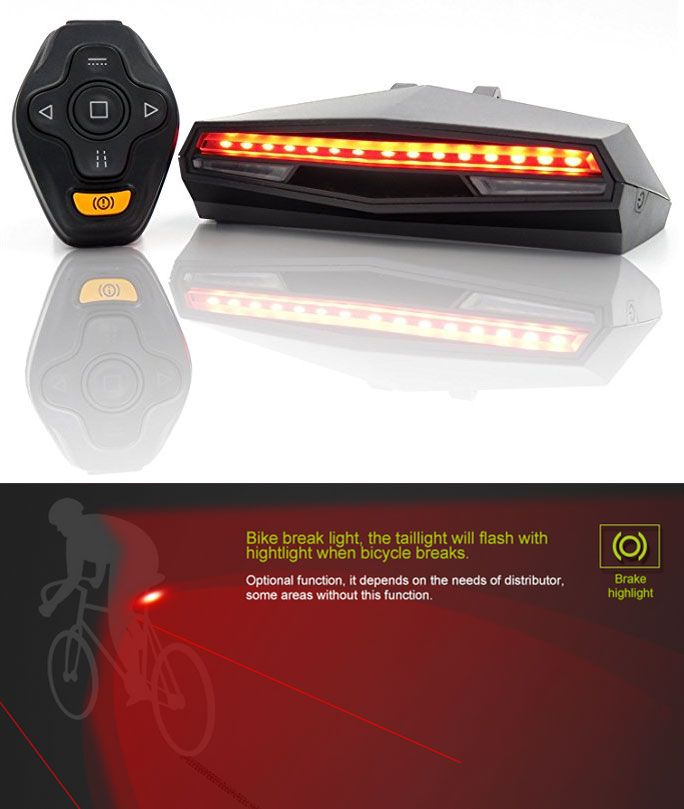 Rechargeable Bike Tail Light - Remote Control, Turning Lights, Ground Lane Alert, Waterproof, Easy Installation for Cycling Safety Warning Light