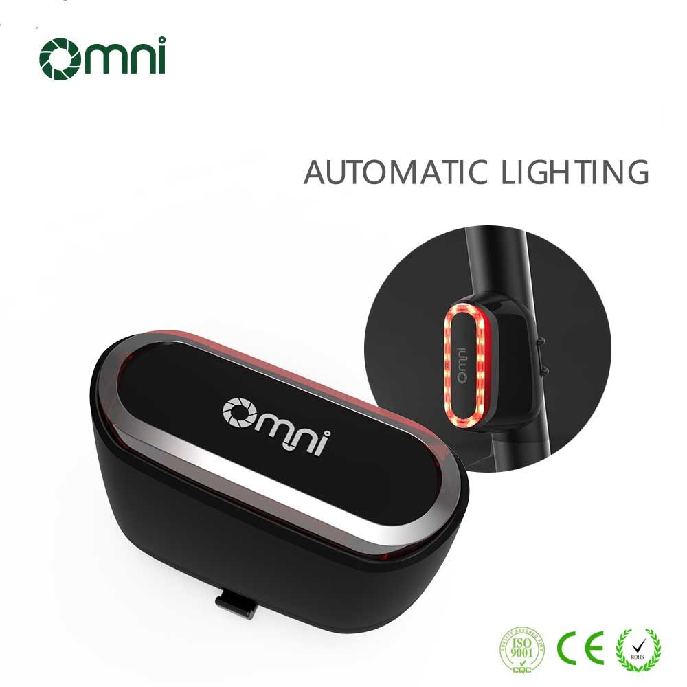 Bike Tail Lights, Bicycle Rear Light Omni USB Rechargeable LED Flashing Smart Bike Light with Motion and Daylight Sensor Quick Release (Black)