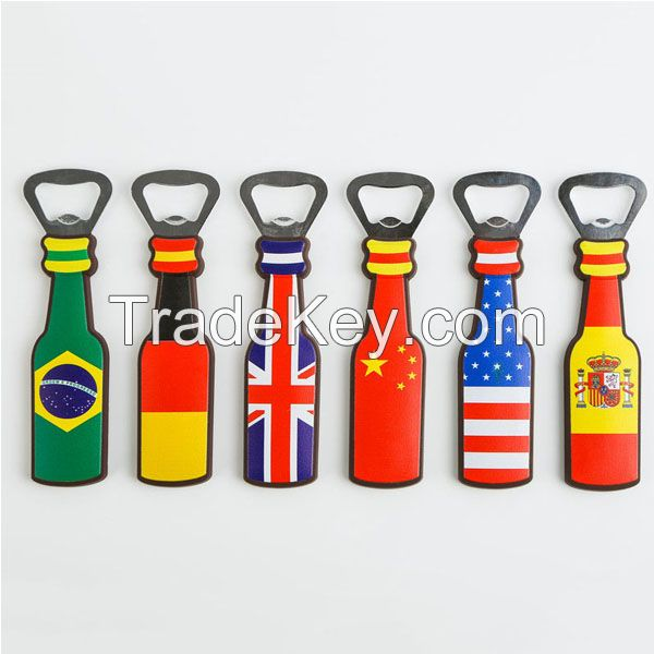 2D 3D Custom Soft PVC Metal Beer Rubber Fridge Magnet Bottle Opener