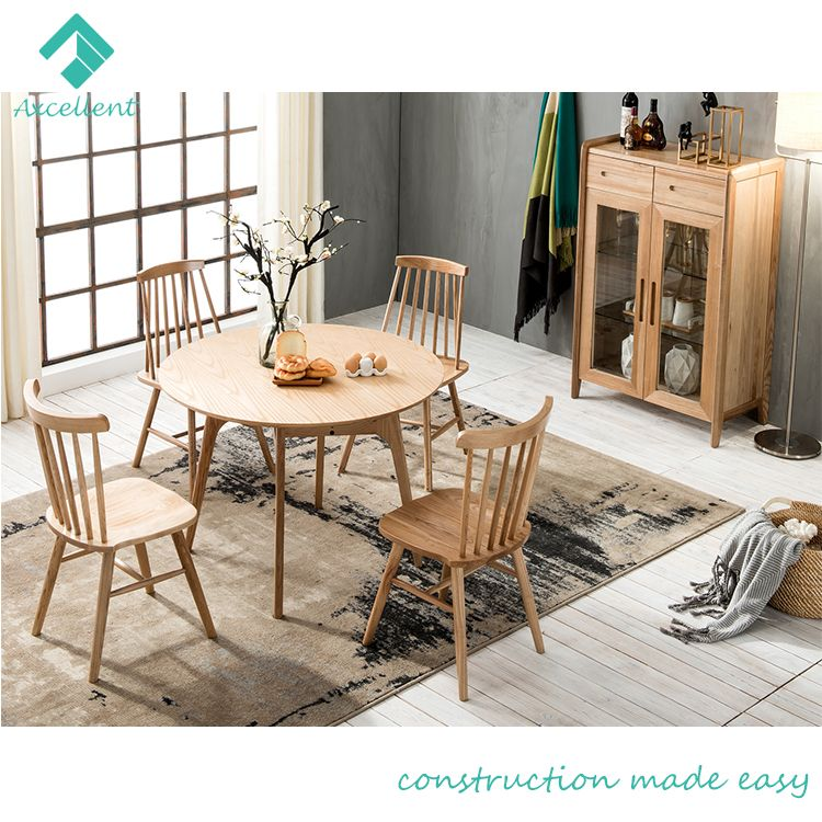 Comfortable nordic style solid wood dining table with chairs designs