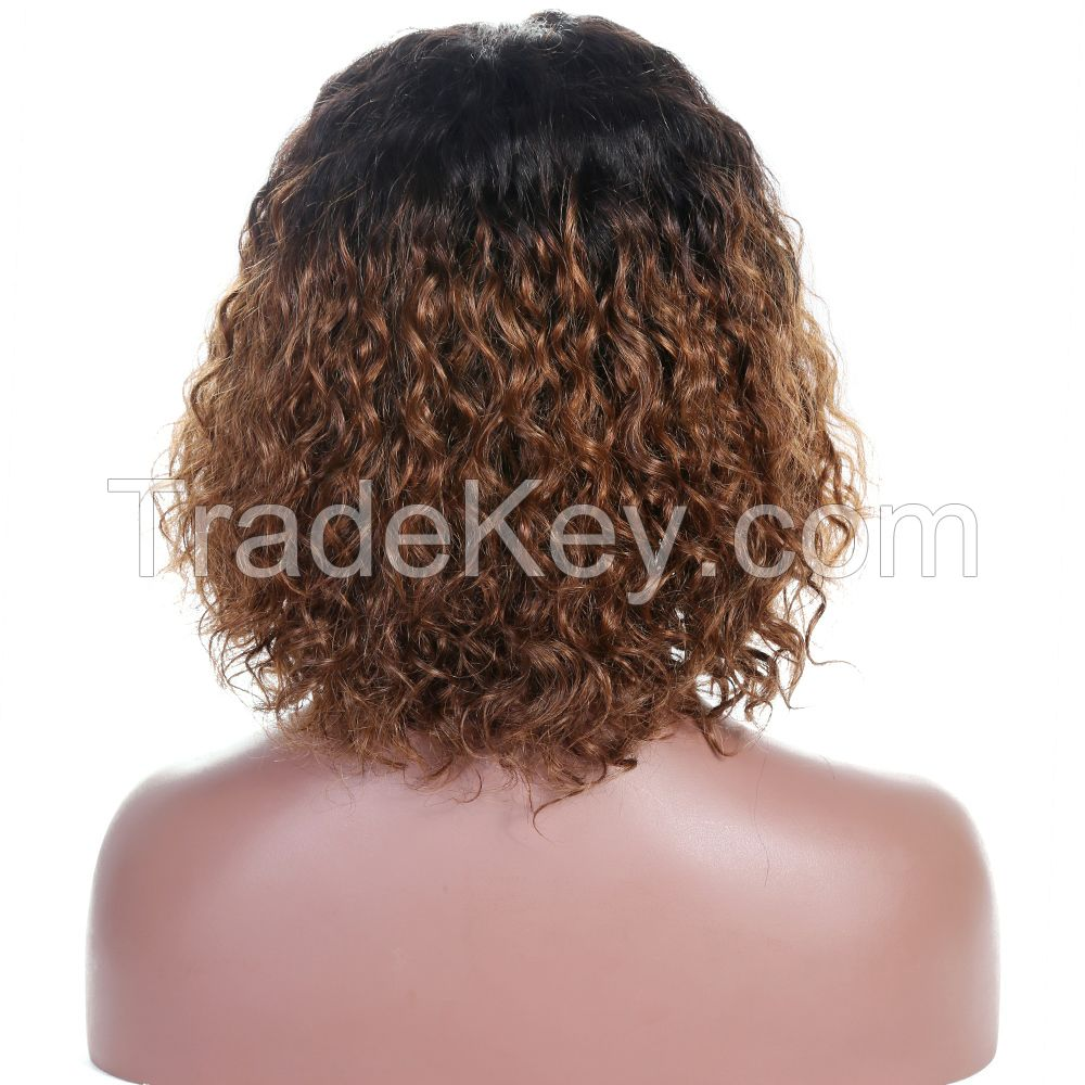 free shipping free parting Brown Ombre Natural Curls Bob Lace Front Wig