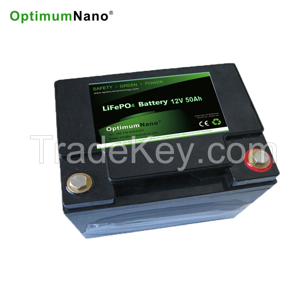 Optimumnano sealed 12v 50ah li-iron battery for solar energy storage system