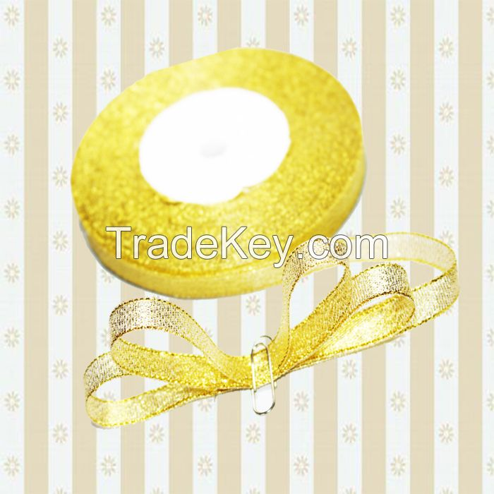 christmas ribbon gold silver ribbon bow 12mm golden metallic glitter ribbon