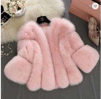 faux artificial fake fur coat white pink women faux fox/rabbit fur coat