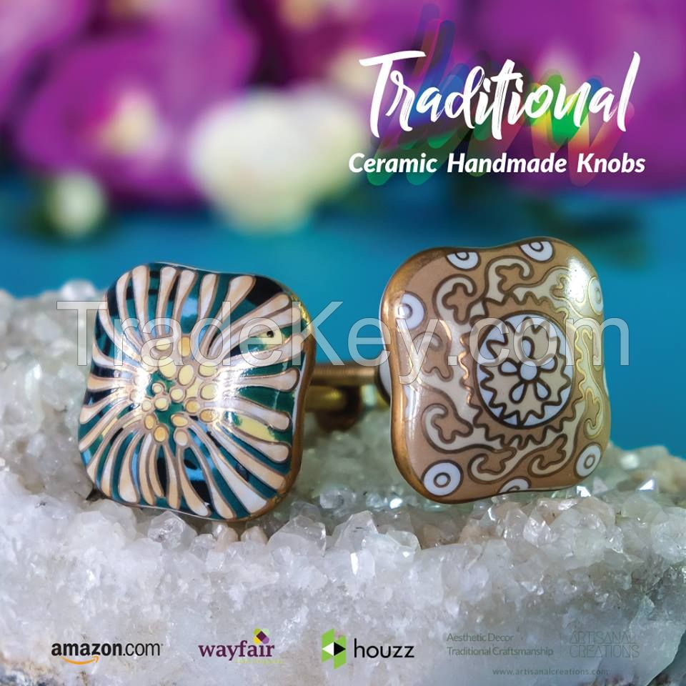 Aesthetic 4 Green and Gold Decorative Knobs | Artisanal Creations