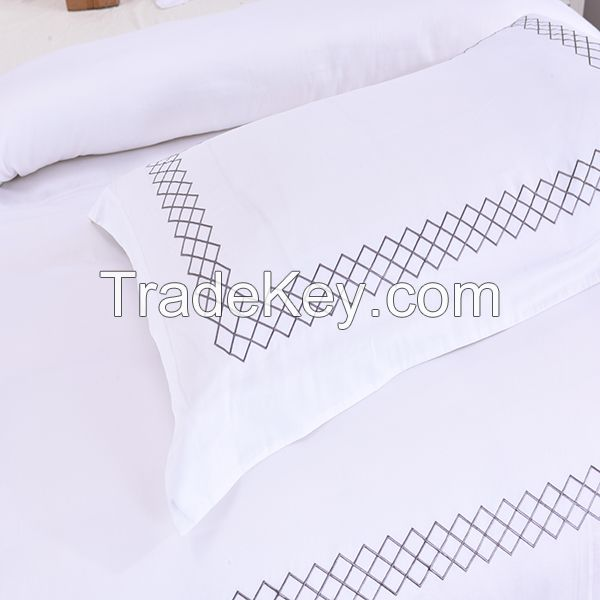 Embroidery hotel 100% cotton duvet cover set