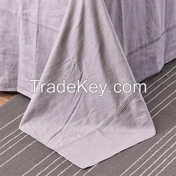 embroidered 100% linen duvet cover set