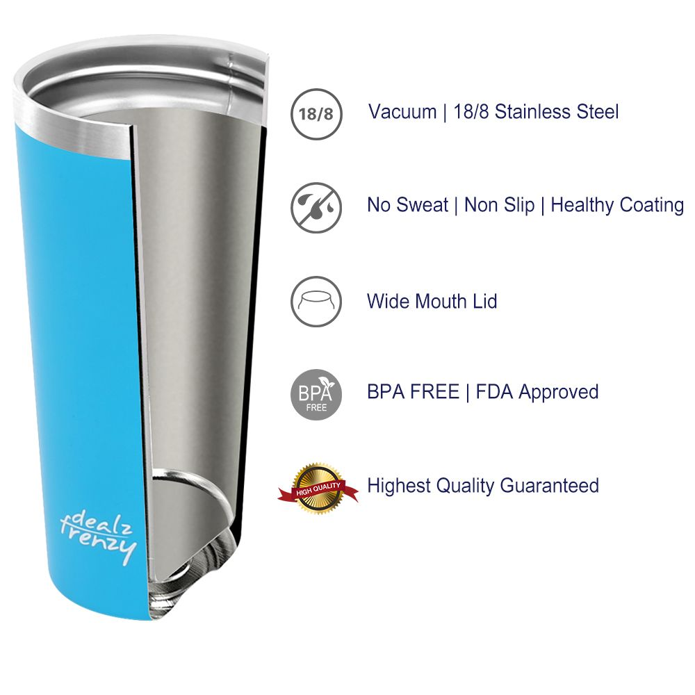 Insulated Tumbler - Double Wall Stainless Steel Travel Coffee Mug with Lid, Thermo Cup BPA Free | FDA, No Sweat Water Flask Bulk Vacuum Insulated Bottle, Thanksgiving Gift 17 oz