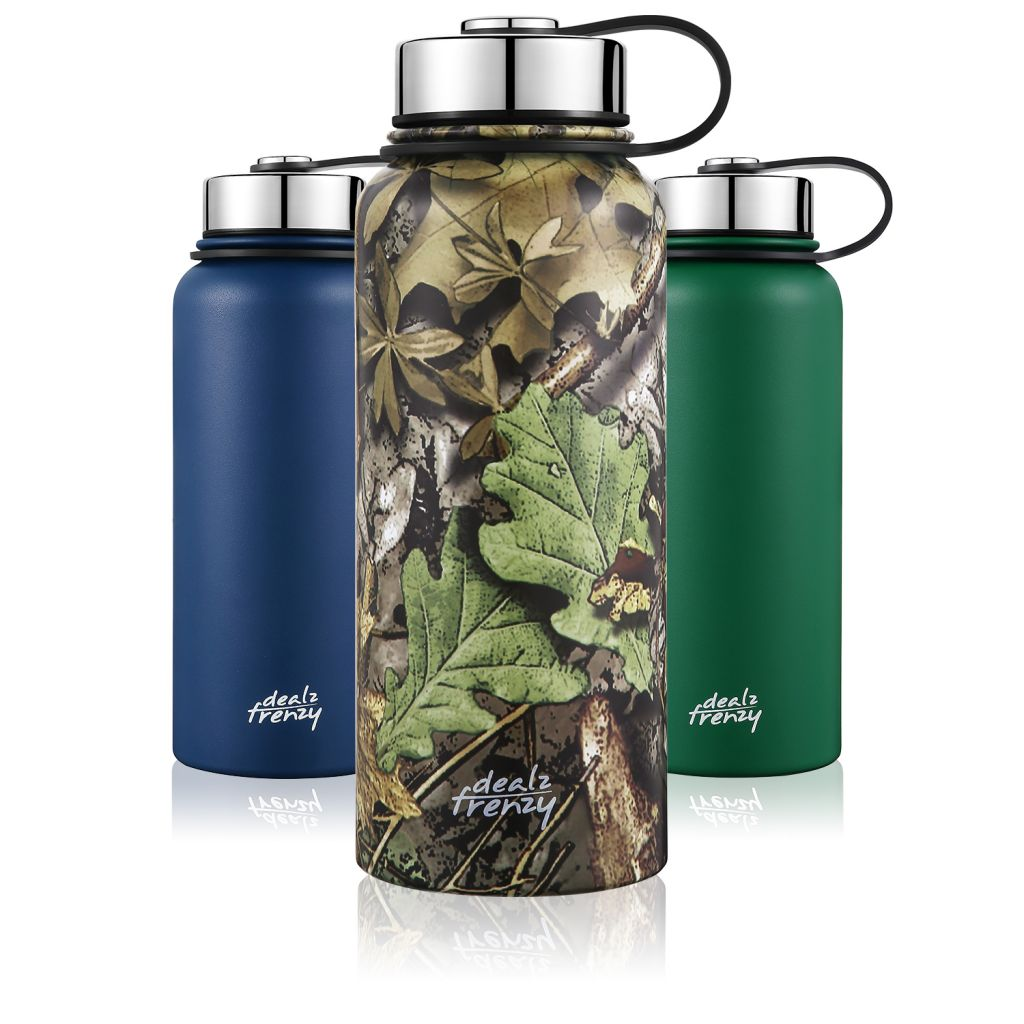 Stainless Steel Sports Water Bottle, 32 oz Double Wall Vacuum Insulated Wide Mouth Thermos Flask for Hot & Cold Drinks, Leak & Sweat Proof, Metal Bottle with BPA Free Cap