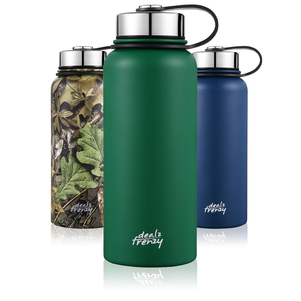 Stainless Steel Insulated Water Bottle, 32 oz Double Wall Vacuum Insulated Wide Mouth Thermos Flask for Hot & Cold Drinks, Leak & Sweat Proof, Metal Bottle with BPA Free Cap
