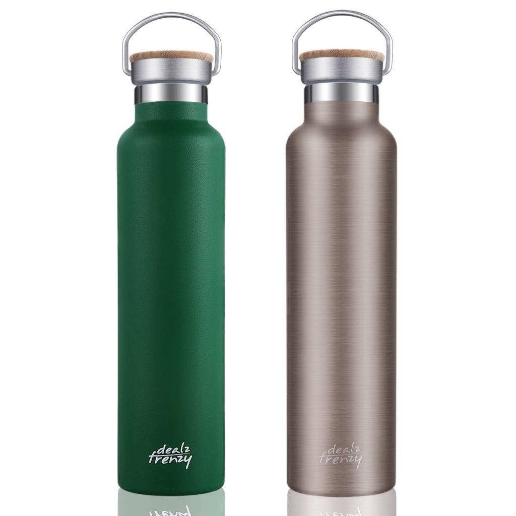 Insulated Water Bottle - Double Wall Stainless Steel Vacuum Thermoses Flask with lid-Hot Cold Drinks, Bamboo Cap Coffee Cups, BPA Free, Black Friday 26 oz