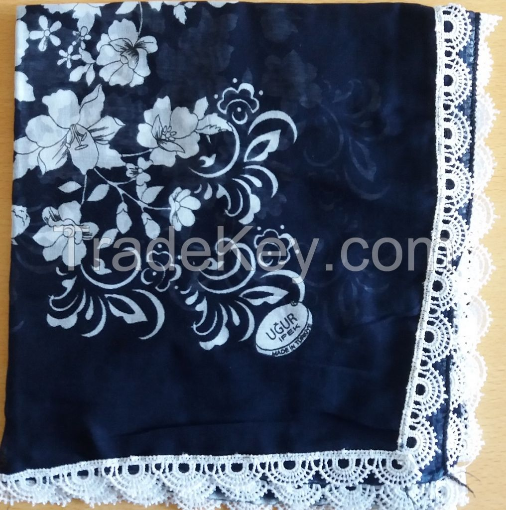 Hundred Percent Cotton Head Cover Scarf with Lace