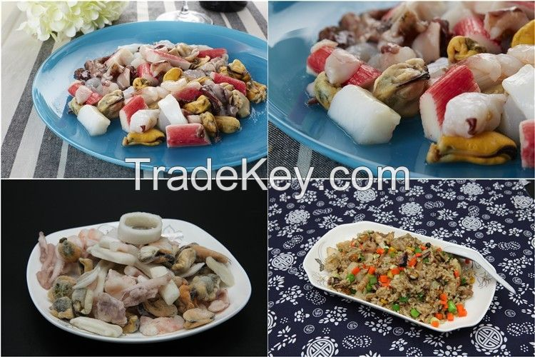 Frozen raw mixed seafood
