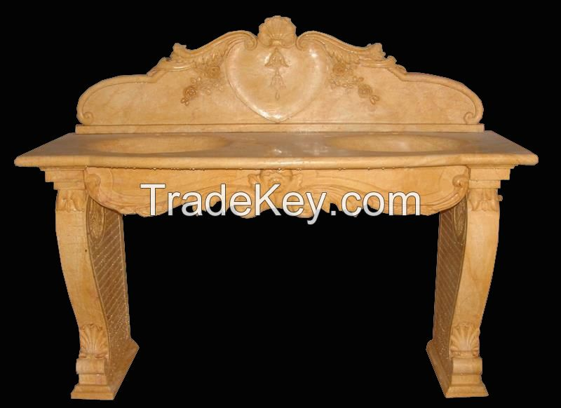 table bench vase marble stone fireplace sculpture handcarved mantel