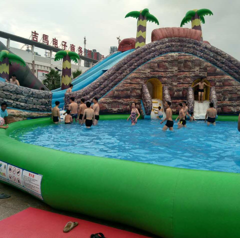 Amazing cheap best commercial Jurassic inflatable water park slides