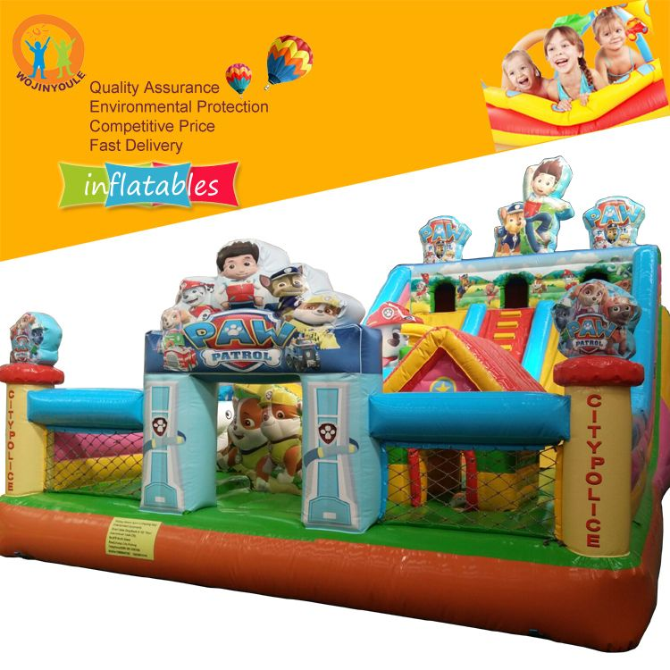 High quality inflatable paw combo patrol dog bouncer jumping bounce castle slide