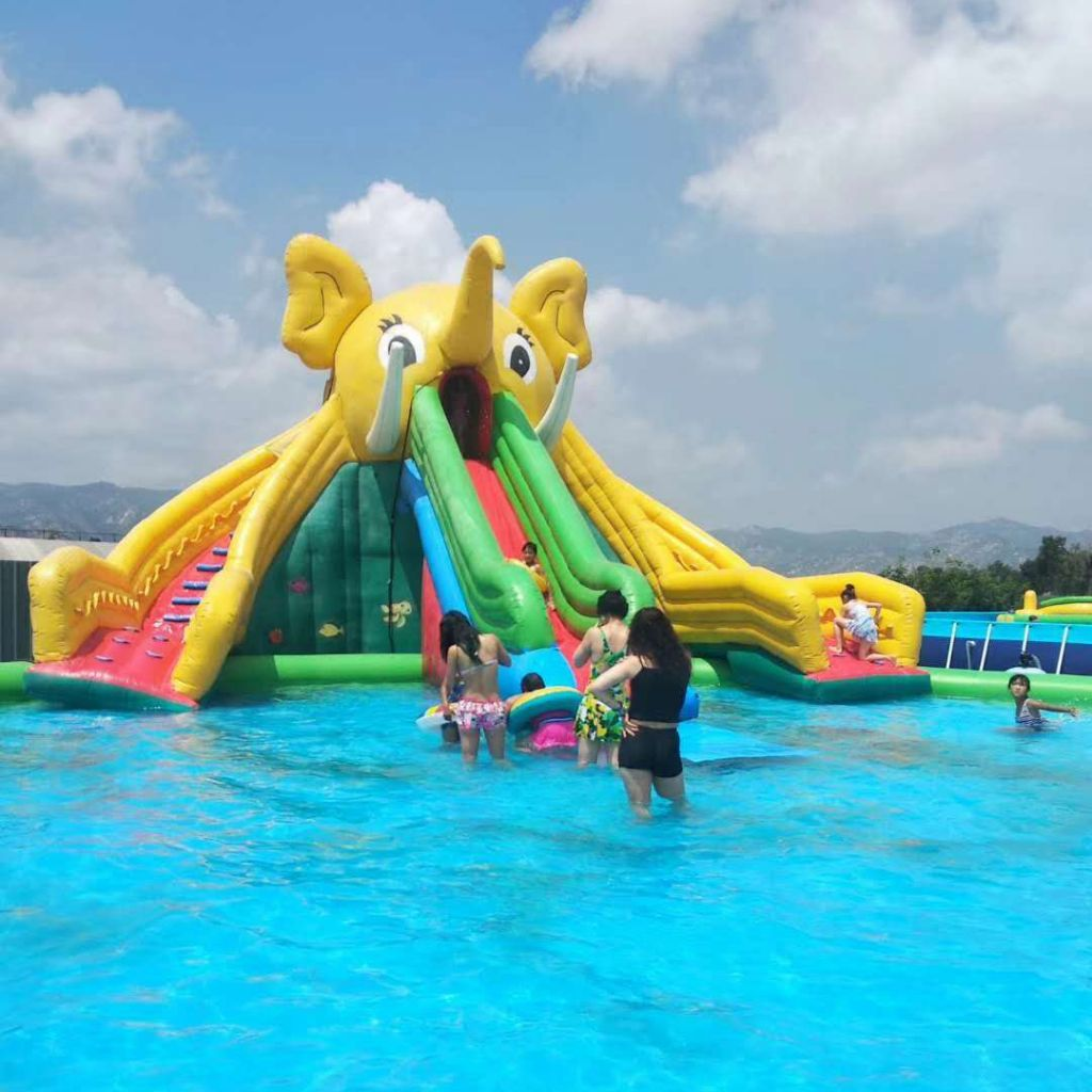 Factory Direct Sale Customized Popular Elephant Mobile Inflatable Water Park Slide for Adult Kids