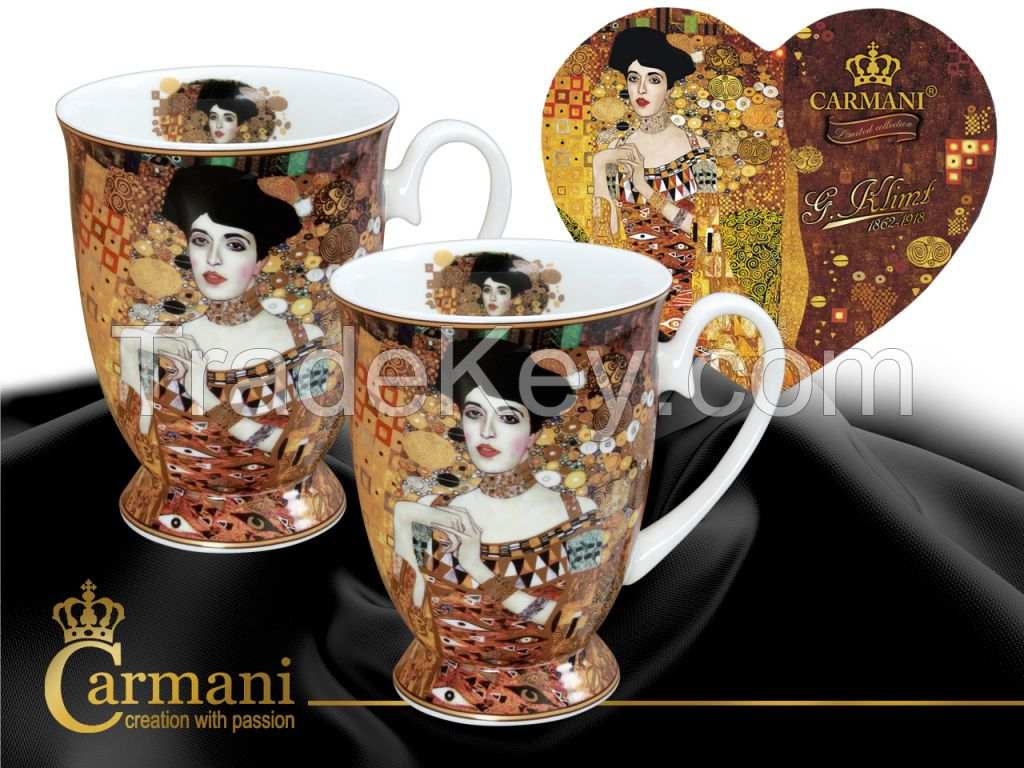 Set Of Mugs In Heart- Klimt- Adele Bloch - Bauer I