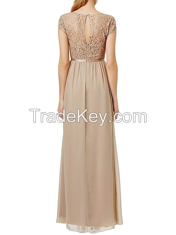 ssyiz cap sleeves long chiffon bridesmaid dresses