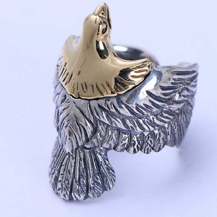 Mens Fashion Jewelry Sterling Silver Eagle Sculpture Skyhawk Ring (XH042519W)