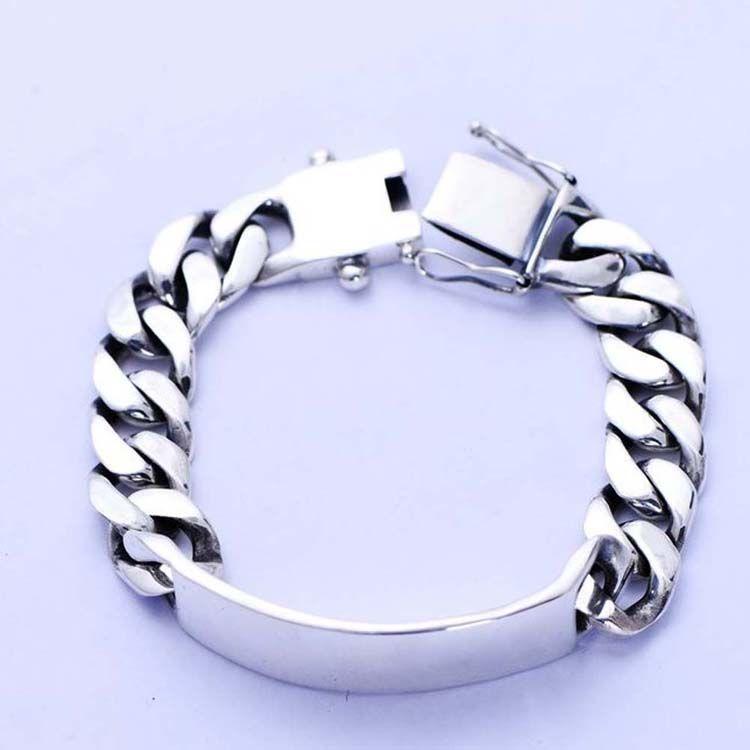Men Heavy Sterling Silver Chunky Chain Link ID Bracelet (056607)