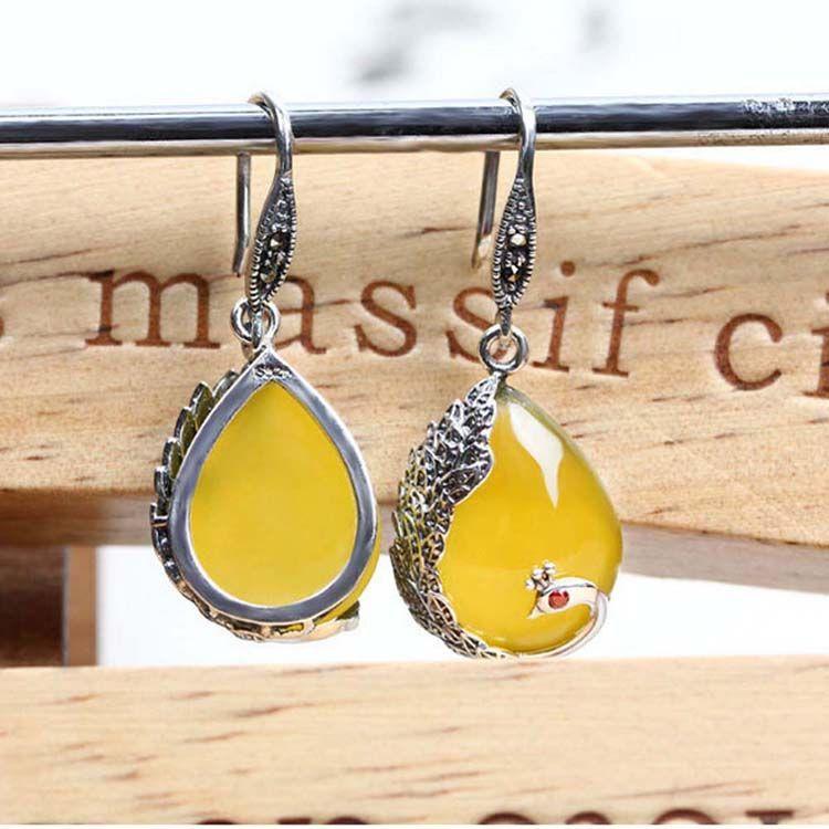 Thai Sterling Silver Yellow Chalcedony Drop Retro Earrings (E170619YELLOW)
