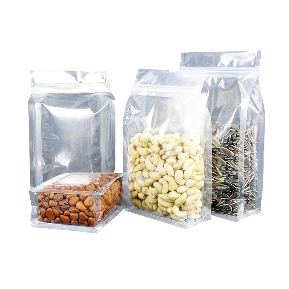 Clear zipper top flexible flat bottom pouch plastic zip lock bags