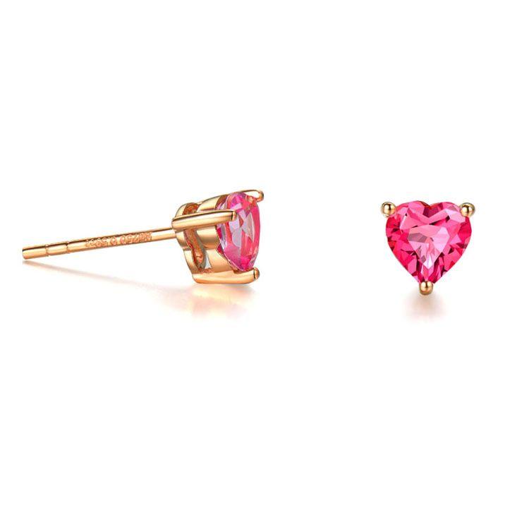 18K Rose Gold Ruby Heart Shape Stud Earrings Women Jewelry(KE001PINK)