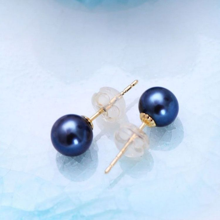 Round 6.5mm Natural Freshwater Pearl 18K Yellow Gold Stud Earrings(E20180103)