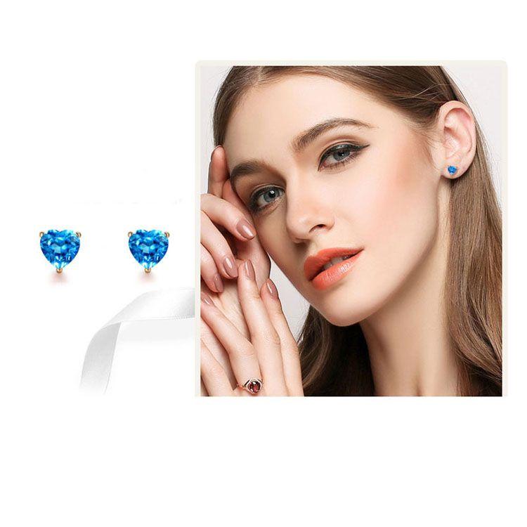 18K Rose Gold Blue Topaz Heart Shape Stud Earrings Women Jewelry(KE001BLUE)