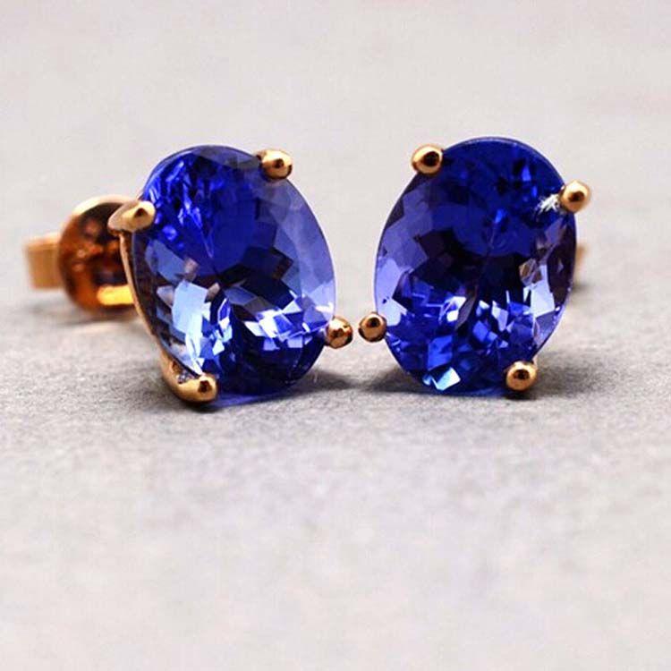 18K Rose Gold Oval Tanzanite Gem Stud Earrings for Women Wedding Jewelry ( KE002ROSE)