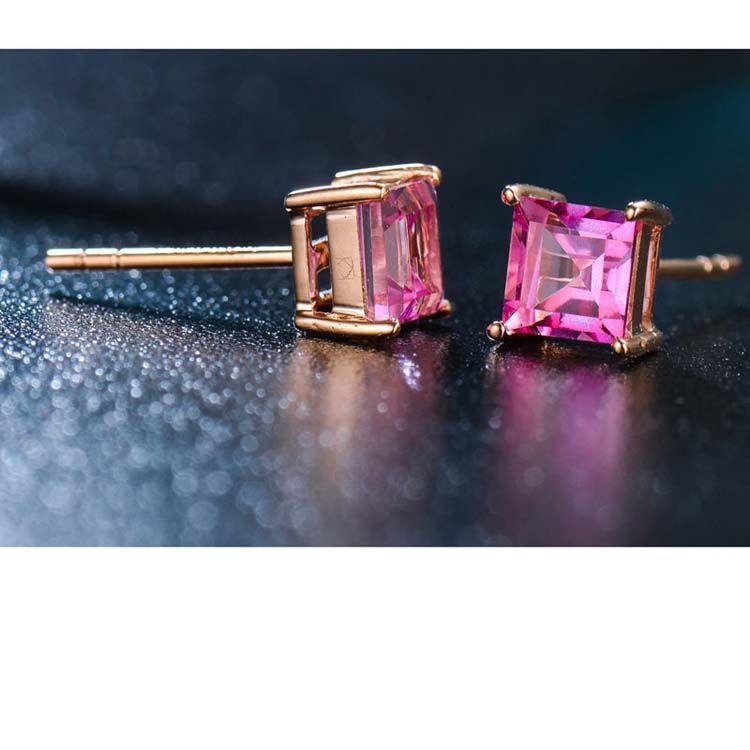 Rose Gold Princess Ruby Stud Earrings Women Fine Jewelry (KE003PINK)