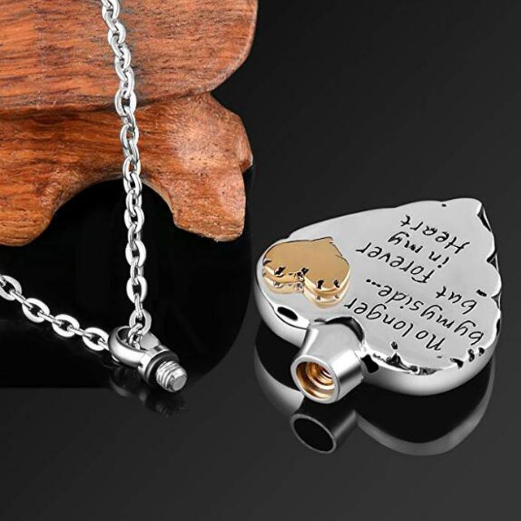 No Longer by My Side But Forever in My Heart Memorial Cremation Necklace for Dad, Pet Ashes Urn Pendant
