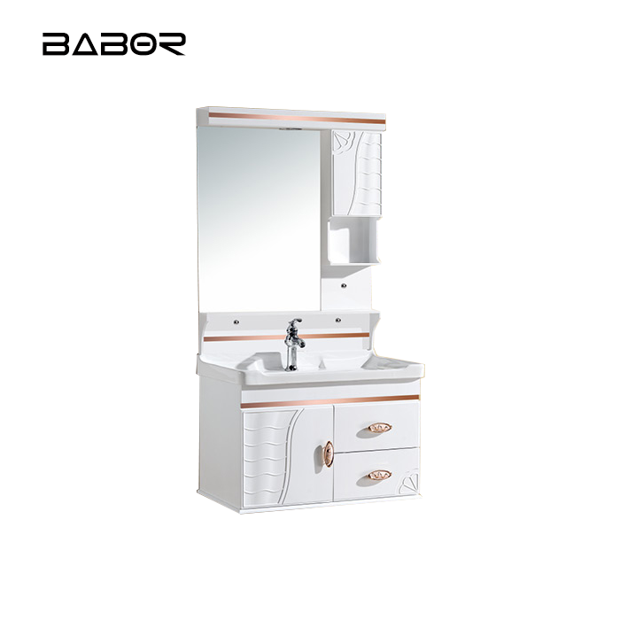 Babor wall mounted white pvc bathroom vanity cabinet
