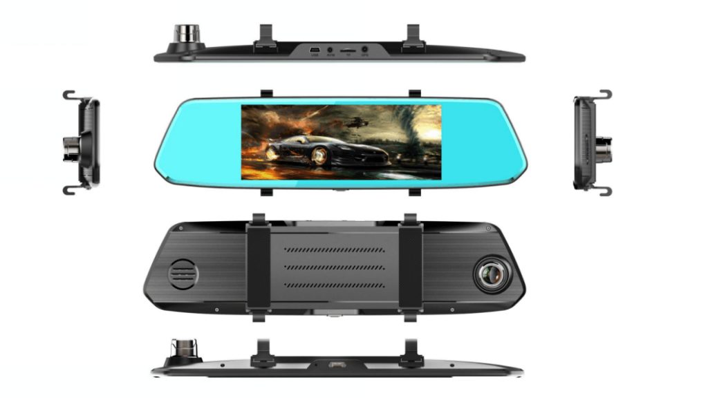 7-Inch Touch Screen Dual lens Rearview Mirror Dash Cam