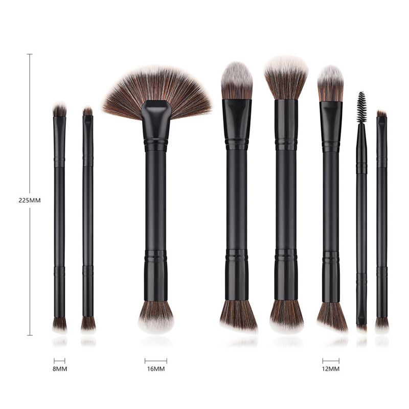 Makeup brushes 8PCS Black Wooden Cosmetic Makeup Brush Foundation Powder Eyeshadow Cosmetic Brushes