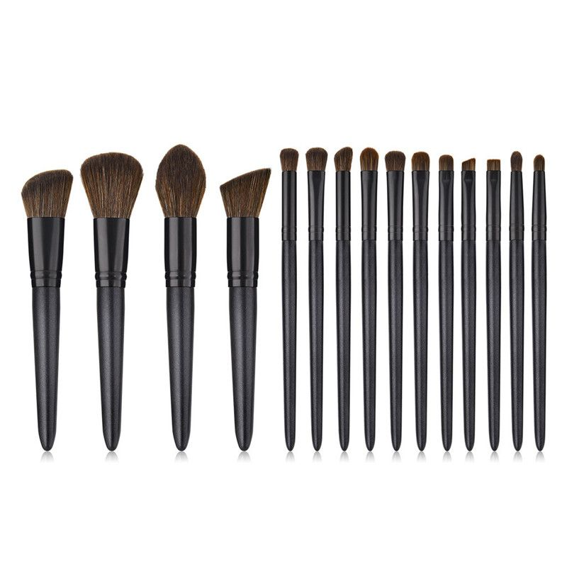 Drop Shipping 15 pcs Wood Handle Eyeshadow Eyebrow Eyeliner Blending Powder Smudge Brush Professional Eyes Makeup Brushes Set