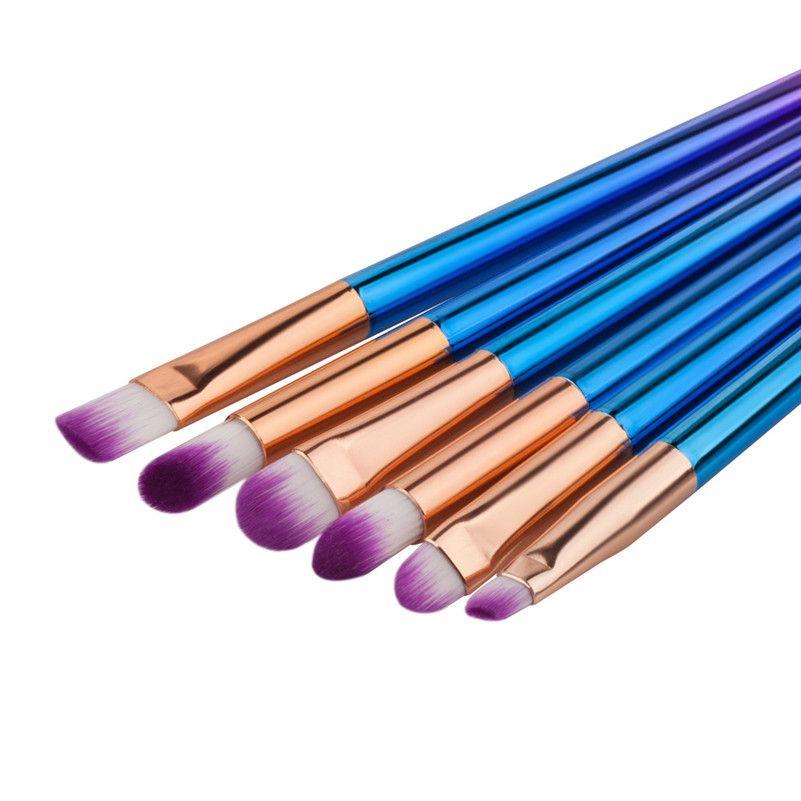 New 6PCS Purple Make Up Foundation Brush Eyebrow Eyeliner Blush Cosmetic Concealer Brushes