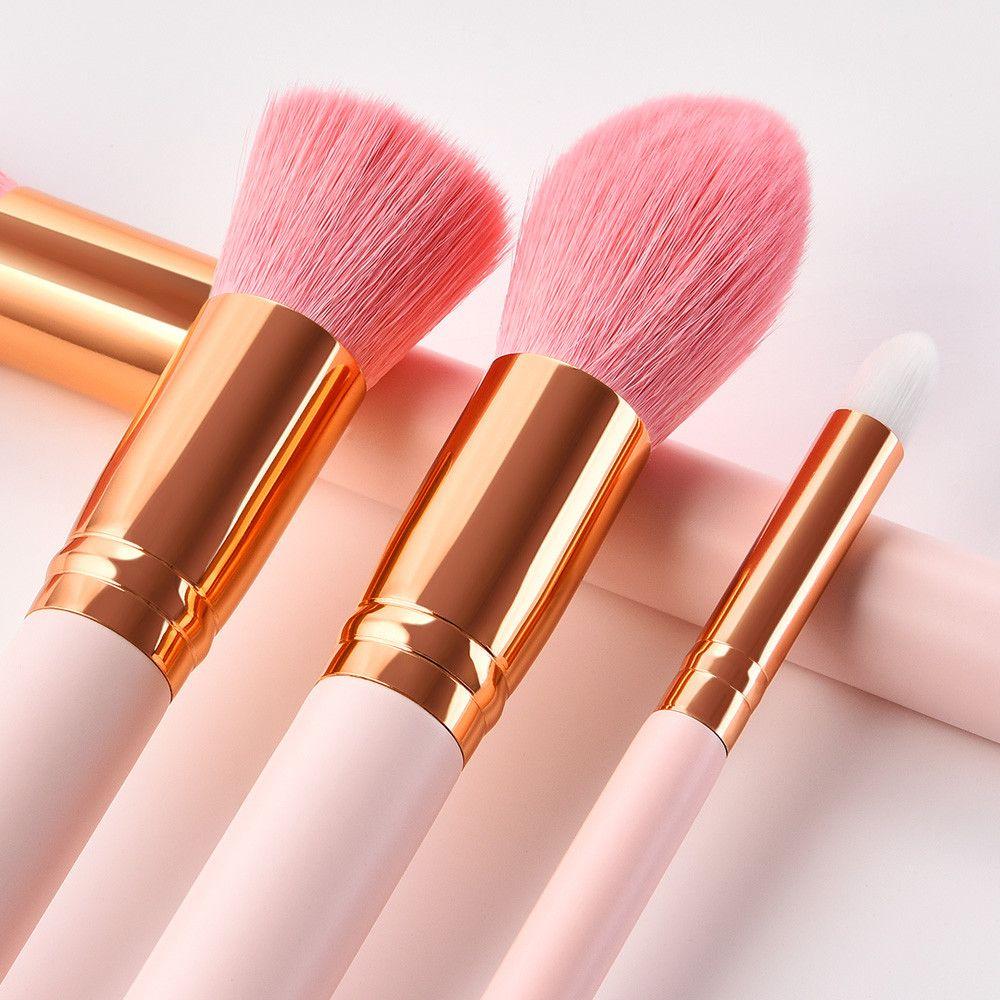 10PCS Wooden Foundation Cosmetic Eyebrow Eyeshadow Brush Makeup Brush Sets Tools Pink Brochas Maquillaje Profesional