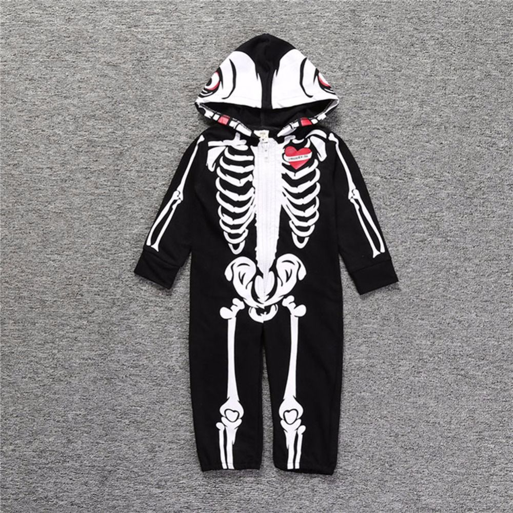 Fashion Halloween Suit Infant Baby Boys Hooded Skeleton Skull Printing Romper Long Sleeve Black Zipper Clothes Costume Boys Hooded