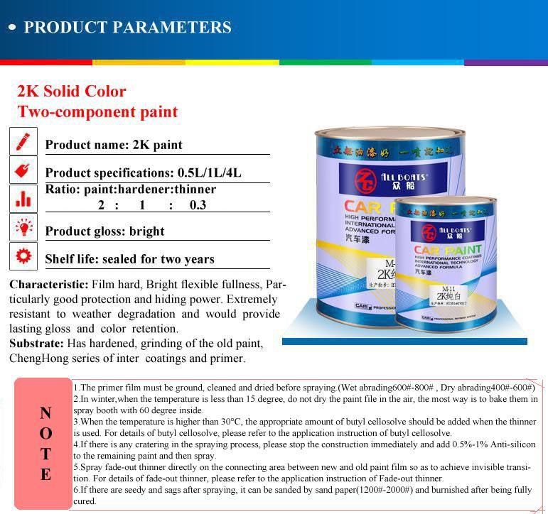 Car Paint 2K Soild Color Paint Master Tints Spray Paint for Car Refinish or Repair