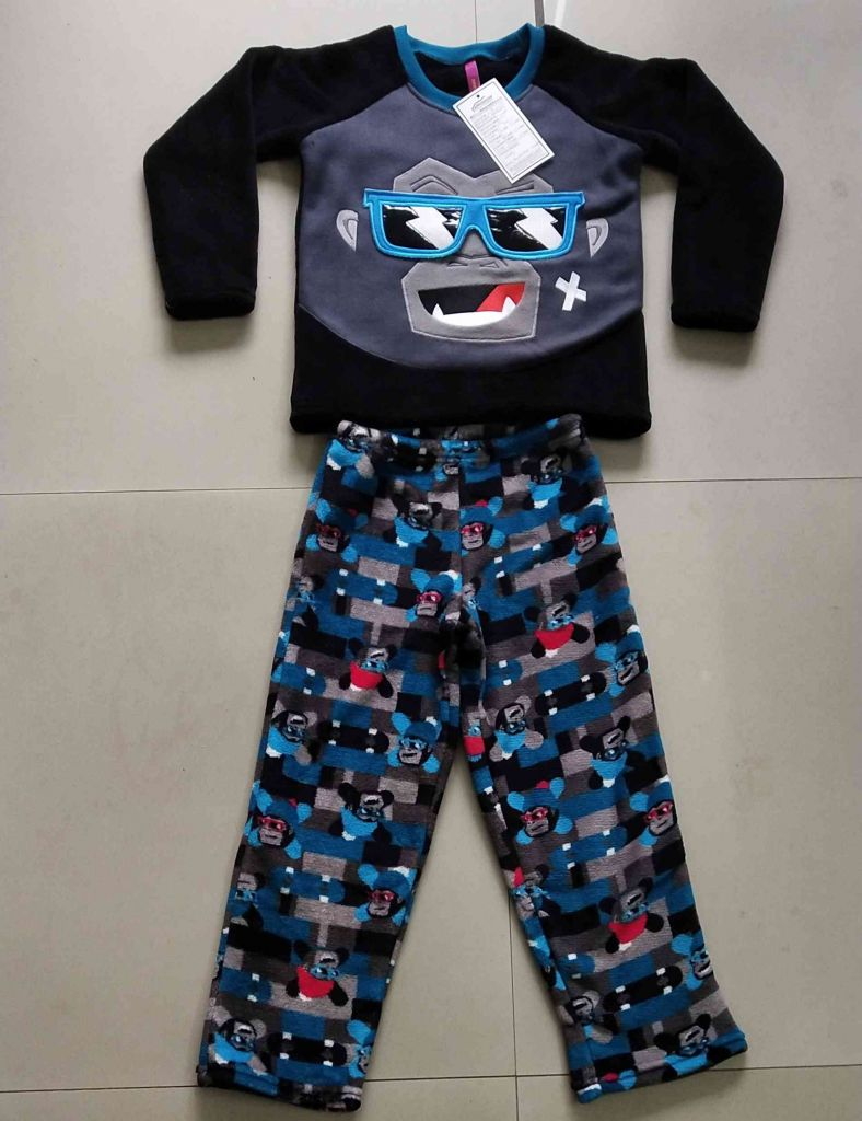 100% polyester coral fleece boy sleepwear gorila design pajama