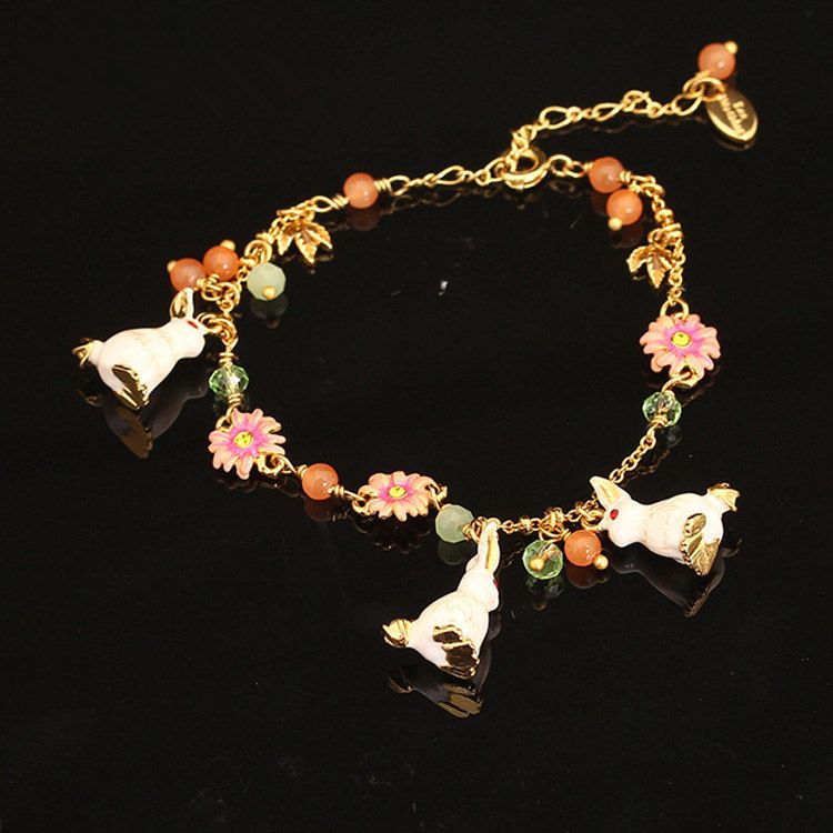 Vintage enamel jewelry flower bracelet with rabbit charm
